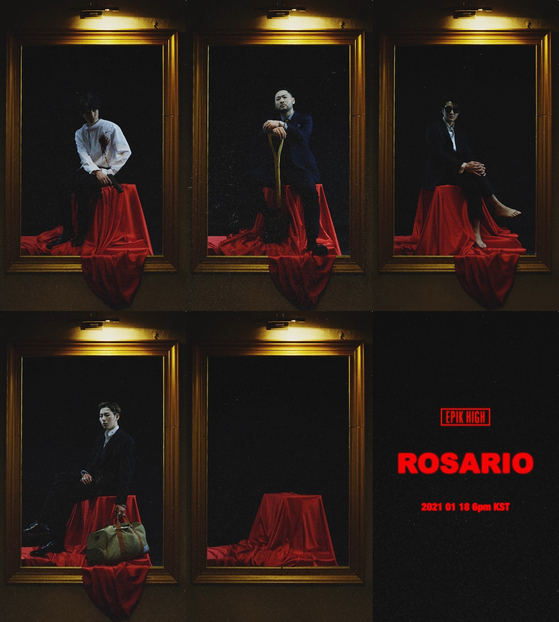 """Images for Epik High's soon-to-be-released """"Rosario,"""" featuring Zico. [EPIK HIGH]"""
