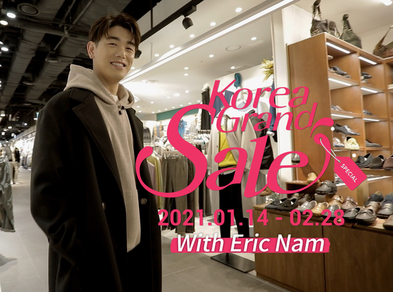 TV celebrity Eric Nam will explain details of the upcoming Korea Grand Sale, one of the largest annual shopping events for non-Koreans, in a video released on the first day of the sale event on Jan. 14. The sale lasts until Feb. 28. [VISIT KOREA COMMITTEE]