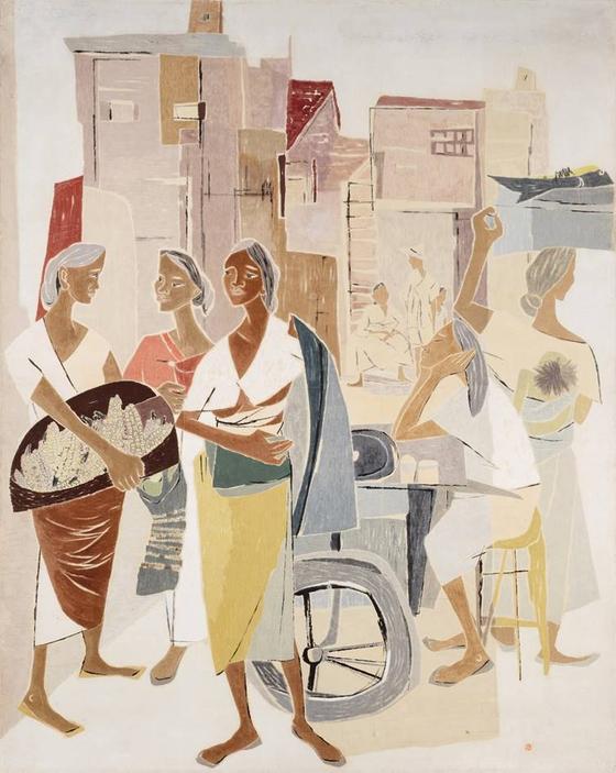 """Open Stalls""(1956) by Park Rehyun. [MMCA]"