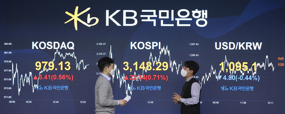 The closing figures for the Kospi, Kosdaq and the dollar against the won are displayed in a dealing room at KB Kookmin Bank in western Seoul on Wednesday. The Kospi rose 22.34 points, or 0.71 percent, to close at 3,148.29. [YONHAP]