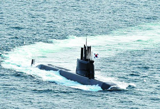 South Korea's ROKS Dosan Ahn Chang-ho, a 3,000-ton submarine, photographed in June. [YONHAP]