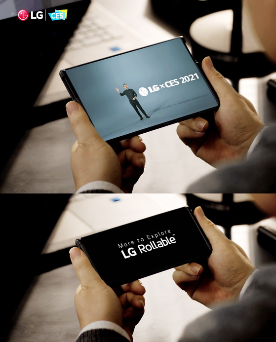 LG Electronics said Thursday that its LG Rollable smartphone won the Best of CES Award this year. The company introduced the world's first smartphone with a rollable display earlier this week. [LG ELECTRONICS]