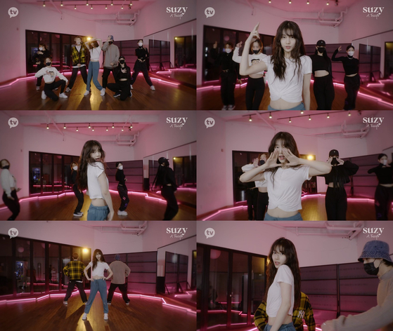A collection of screenshots featuring singer Suzy dancing in a video unveiled ahead of her upcoming online concert on Jan. 23. [KAKAO TV]