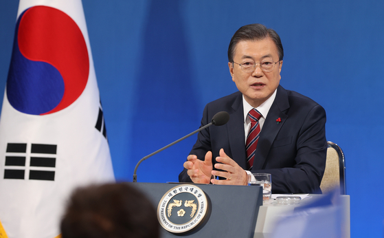 President Moon Jae-in talks at the press conference on Monday. [YONHAP]