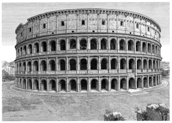 The pen art ″Colosseum″ by Kim Young-taek (1945-2021) will be part of the retrospective of the deceased artist at the Insa Art Center in central Seoul. [INSA ART CENTER]
