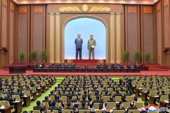 North Korea convenes a session of the Supreme People's Assembly, its rubber-stamp legislature, at the Mansudae Assembly Hall in Pyongyang on Sunday, according to this state media photograph. [YONHAP]