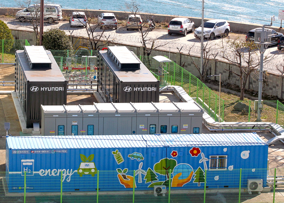 Hyundai Motor's hydrogen fuel cell system inside Ulsan Thermal Power Plant. [HYUNDAI MOTOR]