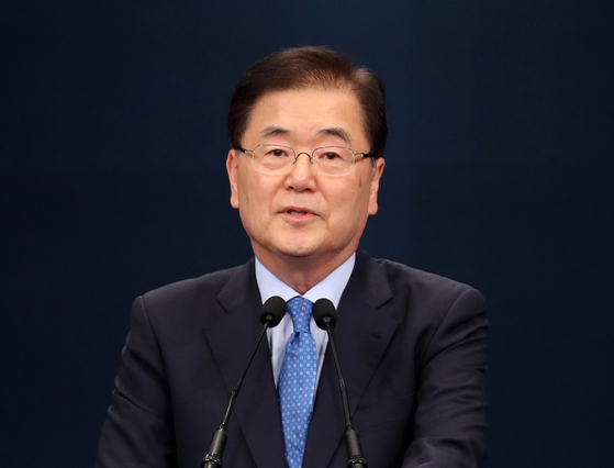 In this file photo, Chung Eui-yong, director of the National Security Office of the Blue House, is seen at a media briefing on Sept. 4, 2018, describing a planned visit to Pyongyang. [NEWS1]