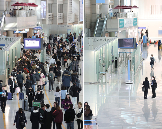 Left, people leave Korea from a departure gate at Incheon International Airport on Jan. 23, 2020, three days after health authorities confirmed the nation's first detection of the coronavirus in a visitor from Wuhan, China. Right, the same gate is nearly empty Tuesday. [YONHAP]