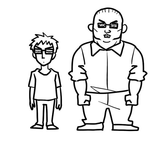 The characters of authors Kim Carnby (left) and Hwang Young-chan, drawn by Hwang. [HWANG YOUNG-CHAN]