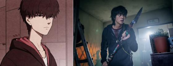 The main character Hyeon-su of ″Sweet Home″ in the webtoon, left, and in the Netflix series. [NAVER WEBTOON, NETFLIX]