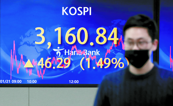 A digital screen at Hana Bank's dealing room in central Seoul shows the Kospi hit a record high Thursday closing at 3,160.84, up 46.29 points, or 1.49 percent, from the previous trading day. The index broke the previous record high it set nine trading days ago. [YONHAP]