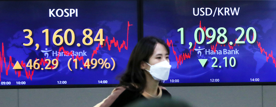 A screen at Hana Bank's dealing room in central Seoul shows the Kospi closing at an all-time high of 3,160.84 points, up 46.29 points, or 1.49 percent, from the previous trading day on Thursday. [NEWS1]