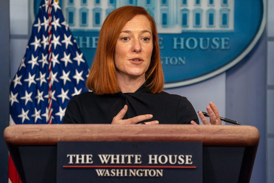 "White House Press Secretary Jen Psaki speaks at a press conference at the White House in Washington Friday and tells reporters that the Joe Biden administration plans to adopt a ""new strategy"" on North Korea. [EPA/YONAHP]"