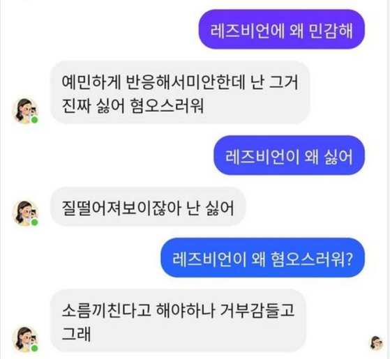 The screen capture of conversation between Lee Lu-da and a user. When Lee was asked about her attitude toward lesbians, she said, ″It's disgusting,″ and ″I hate it.″ [SCREEN CAPTURE]