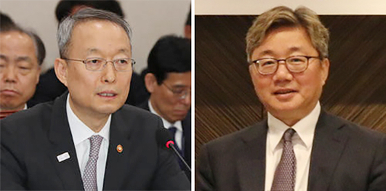 From left, former Energy Minister Paik Un-gyu and Korea Gas Corporation President Chae Hee-bong. [JOONGANG ILBO]