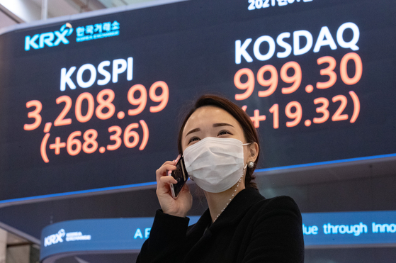 A digital signboard at the Korea Exchange in Yeouido, western Seoul, shows the Kospi closing at an all-time high of 3,208.99, up 68.36 points, or 2.18 percent, from the previous trading day on Monday. [NEWS1]