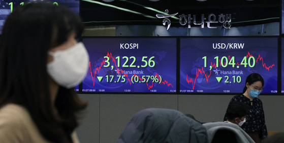 A screen at Hana Bank's trading room in central Seoul shows the Kospi closing at 3,122.56 on Wednesday, down 17.75 points, or 0.57 percent, from the previous trading day. [NEWS1]
