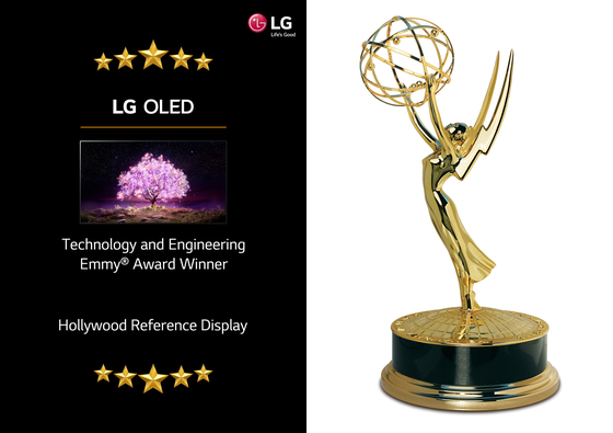 Images created by LG Electronics to recognize the Emmy Award that the company received for its OLED technology on Monday. [LG ELECTRONICS]