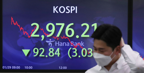 A screen in Hana Bank's trading room in central Seoul shows the Kospi closing at 2,976.21 points on Friday, down 92.84 points, or 3.03 percent, from the previous trading day. [NEWS1]