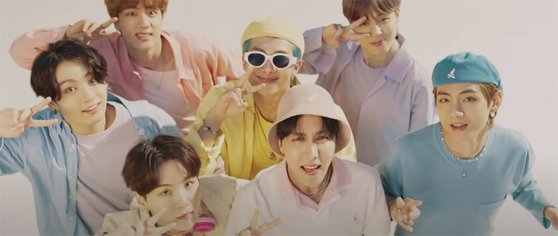 Boy band BTS in its music video for 2020 hit single ″Dynamite″ [BIG HIT ENTERTAINMENT]
