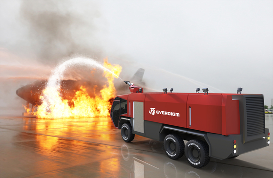 A concept image of Everdigm's fire truck specialized in suppressing fire on aircraft. [EVERDIGM]
