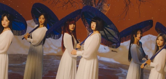 A captured image from girl group (G)I-DLE's new track ″Hwaa,″ which was criticized by Korean fans for its usage of Japanese and Chinese images in its traditional theme for the song, instead of sticking to something strickly Korean. [CUBE ENTERTAINMENT]