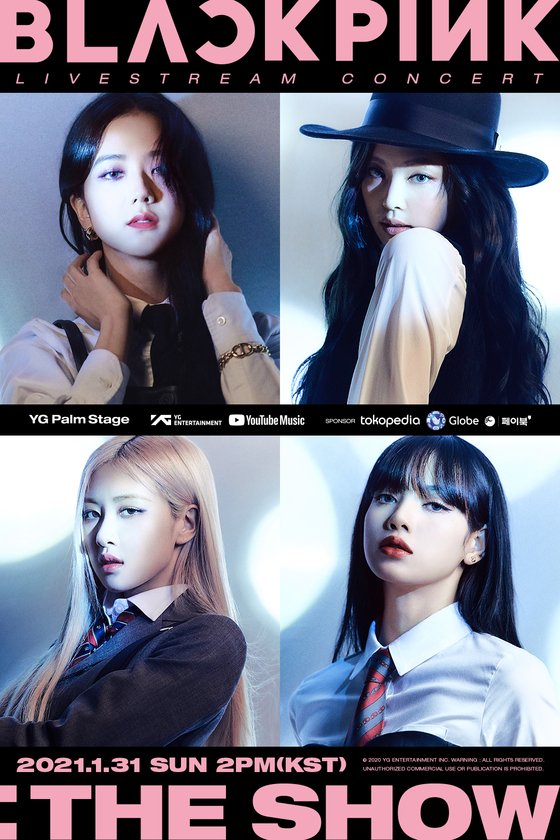 """Poster for girl group Blackpink's first online concert """"YG PALM STAGE — 2021 BLACKPINK: THE SHOW″ which was hosted on Jan. 31. [YG ENTERTAINMENT]"""