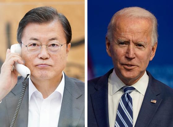 President Moon Jae-in, left, and U.S. President Joe Biden.  [YONHAP]