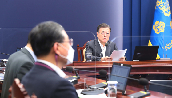 President Moon Jae-in on Monday vows to take action against the opposition's allegations of a government plan to build a nuclear reactor for North Korea. [JOINT PRESS CORPS]