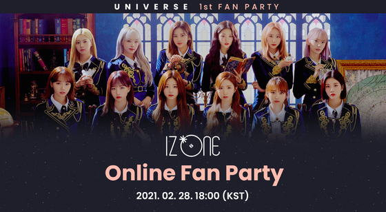 The official image for girl group IZ*ONE's ″Online Fan Party″ set to take place on Feb. 28. [NCSOFT]