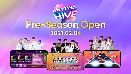 """Mobile rhythm game """"Rhythm Hive,"""" launched on Thursday, will service hit songs by BTS and other artists. [SUPERB]"""