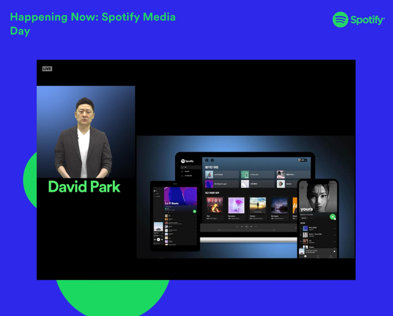David Park, Managing Director at Spotify Korea introduces the company's plans this year in an online press conference, Monday. [SPOTIFY KOREA]