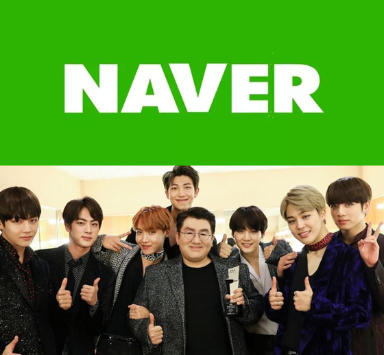 An image of boy band BTS, managed by Big Hit Entertainment, and Naver's logo. [NAVER, BIG HIT ENTERTAINMENT]