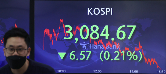 A screen shows the closing figure for the Kospi in a trading room in Hana Bank in Jung District, central Seoul, on Tuesday. [YONHAP]