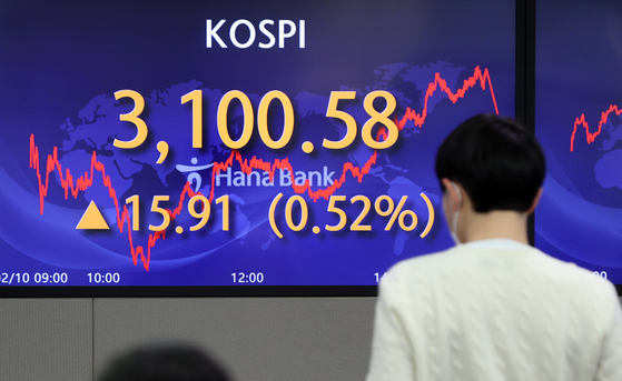 A screen at Hana Bank's trading room in central Seoul shows the Kospi closing at 3,100.58 points on Wednesday, up 15.91 points, or 0.52 percent from the previous trading day. [YONHAP]