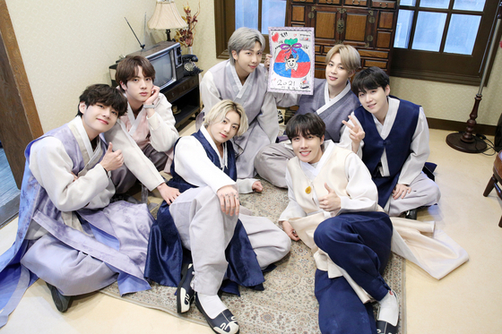 The seven members of BTS pose in hanbok, or Korean traditional dress, to celebrate Lunar New Year. [BIG HIT ENTERTAINMENT]