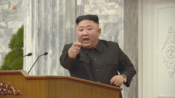 North Korean leader Kim Jong-un speaks during the 8th ruling Workers' Party Central Committee's plenary session last week. [SCREEN CAPTURE OF KOREAN CENTRAL NEWS AGENCY/YONHAP]