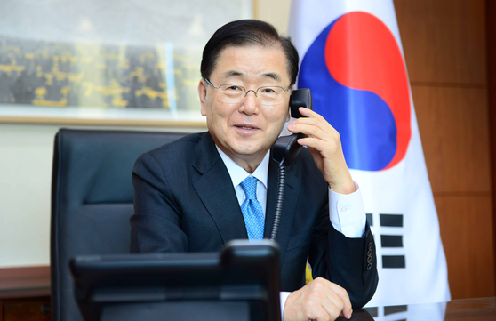 New South Korean Foreign Minister Chung Eui-yong makes a phone call with U.S. Secretary of State Antony Blinken Friday to discuss the Korean Peninsula issue. [FOREIGN MINISTRY]