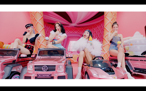 "A scene from Blackpink's music video for ""Ice Cream"" (2020), featuring American singer Selena Gomez. [YG ENTERTAINMENT]"