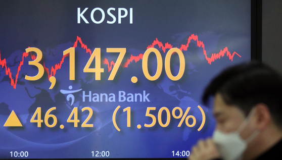 A screen at Hana Bank's trading room in Jung District, central Seoul, shows the final figure for the Kospi on Monday. [NEWS 1]