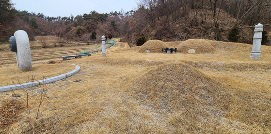 Grandpa Choi and his wife Lee Sam-soon are buried next to each other. The ox is buried near them. The plot of land behind the graves is the red pepper field featured in the documentary. [SOHN MIN-HO]