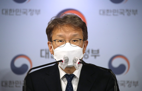 Kwon Chil-seung, Minister of SMEs and Startups, during a press briefing at the government complex in Seoul on Tuesday. [YONHAP]