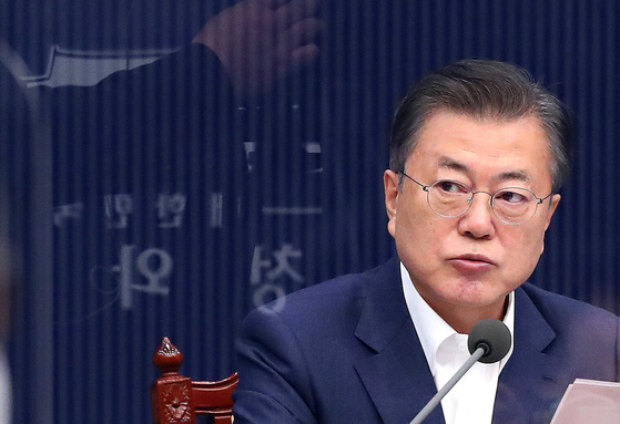 President Moon Jae-in speaks during the cabinet meeting on Tuesday.  [YONHAP]