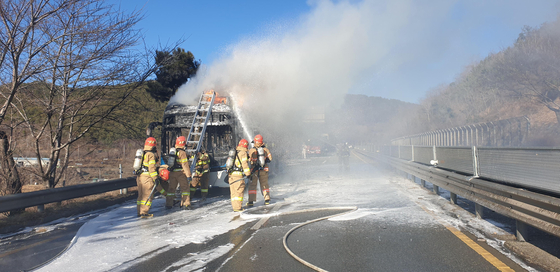 Hyundai Motor's Elec City, an electric bus powered by an LG Energy Solution battery, caught fire on Tuesday in Changwon, South Gyeongsang. [YONHAP]