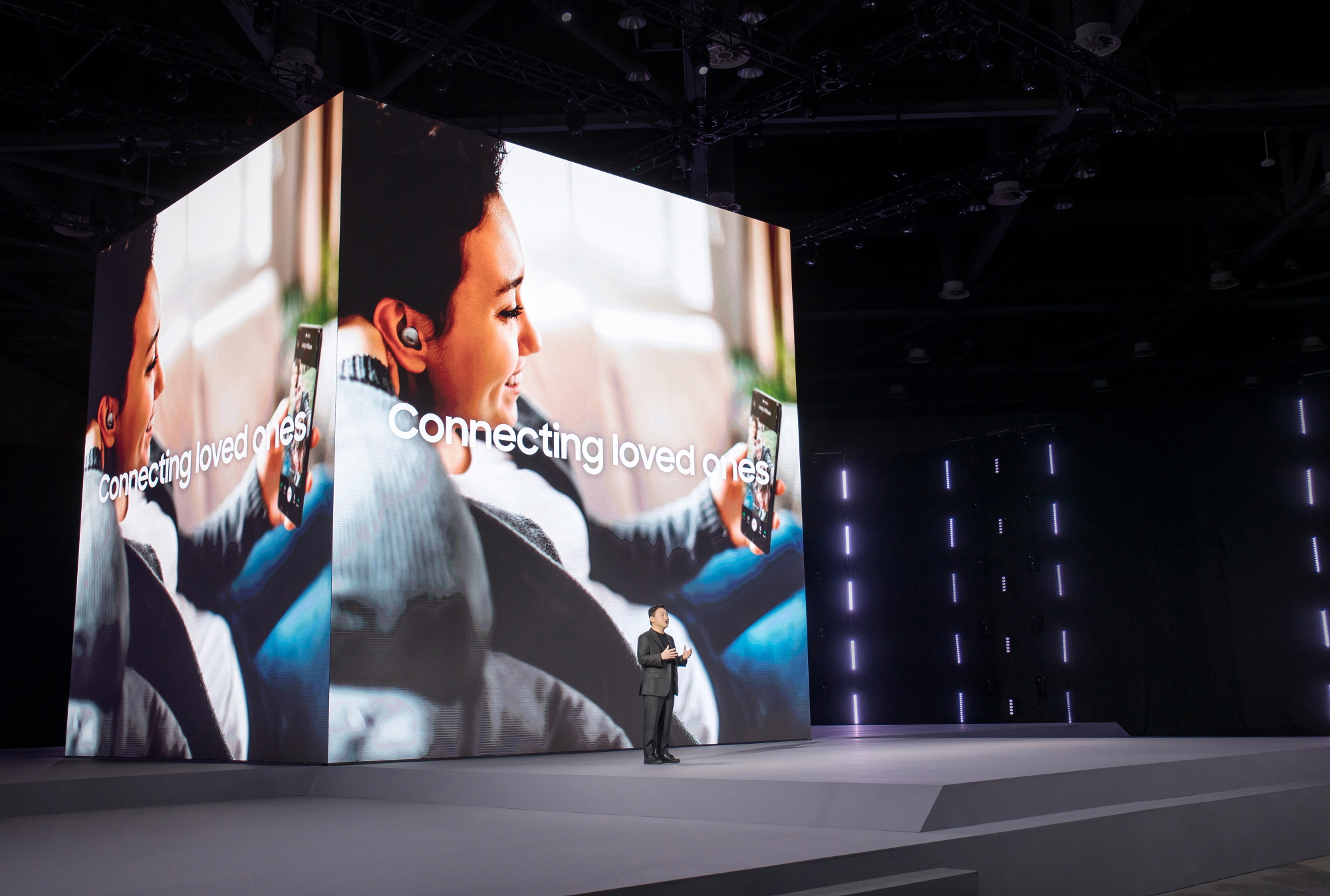 TM Roh, President and Head of Mobile Communications Business of Samsung Electronics, is giving a speech at Galaxy Unpacked 2021. [SAMSUNG ELECTRONICS]