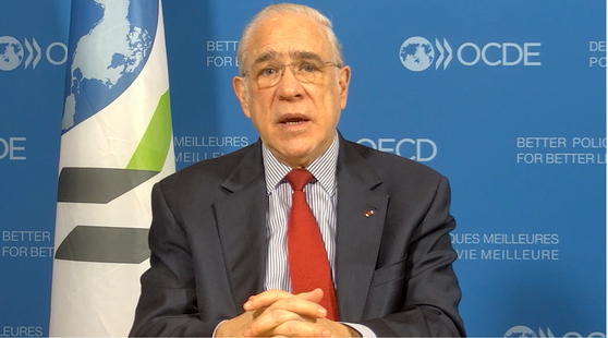 Angel Gurria, OED secreatry-general, attends the Korea Development Institute's forum ″What's Next″ held at the Four Seasons Hotel in Seoul via online on Wednesday. [KDI]