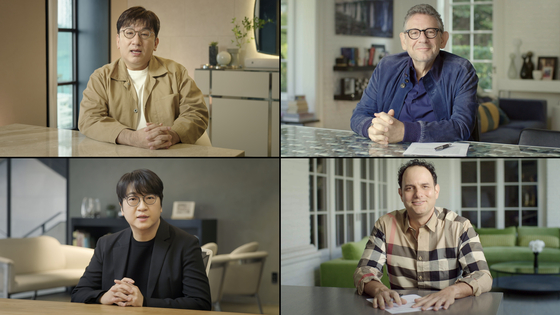 Clockwise from top left: Bang Si-Hyuk, Chairman and CEO of Big Hit Entertainment; Sir Lucian Grainge, Chairman and CEO of Universal Music Group; John Janick, Chairman and CEO of Interscope Geffen A&M; and Lenzo Yoon, CEO of Big Hit Entertainment's Global Business. [BIG HIT ENTERTAINMENT/ UNIVERSAL MUSIC GROUP]