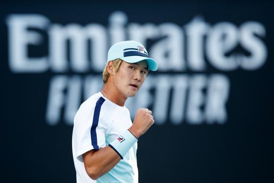 Kwon Soon-woo during the Australian Open on Feb. 9, 2021. [TENNIS AUSTRALIA]