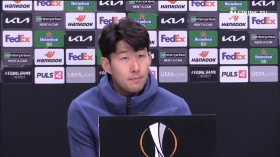 Son Heung-min discusses Tottenham Hotspur's drop in the table in a press conference ahead of the club's Europe League clash with Wolfsberger. [SCREEN CAPTURE]